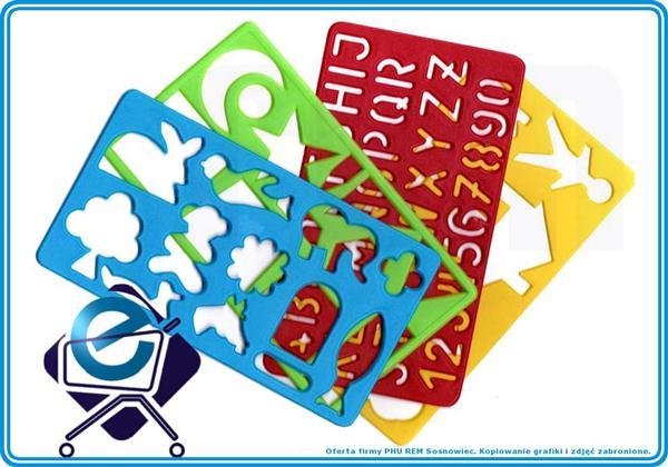 SZABLONY (3) dla dzieci do odrysowywania 4 szt +3R