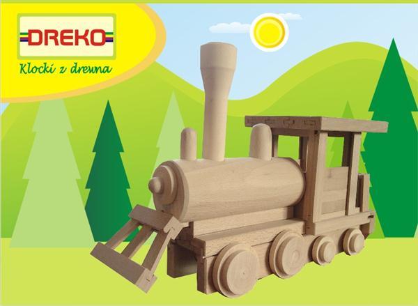 LOKOMOTYWA - POLSKIE klocki drewniane 80 szt.